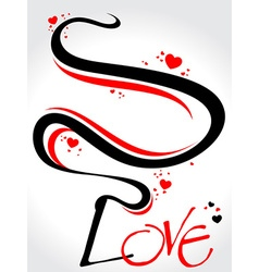 floral with stylish love text vector image