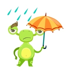 Funny monster sad walking under rain with umbrella vector