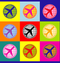 Globe and plane travel sign pop-art style vector