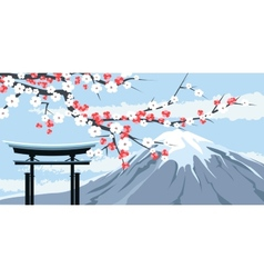 Graphic of mount fuji with cherry blossoms vector