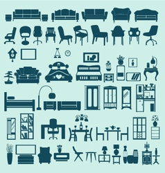 Icons set interior collection-silhouettes vector