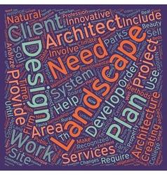 Landscape architects text background wordcloud vector