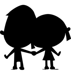 lovers silhouette hold hand - vector image
