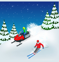 Man driving sports snowmobile man and fast action vector