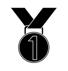 medal award winner sport pictogram vector image