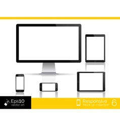 Modern monitor glossy tablet and smartphone vector image vector image