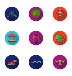 Play garden set icons in flat style big vector