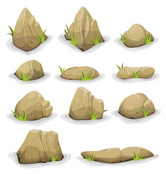 Rocks and boulders with grass leaves set vector