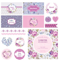 Scrapbook Design Elements - Baby Shower vector image vector image