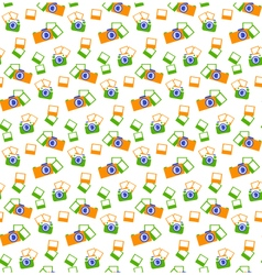 Seamless photo cameras pattern isolated on white vector image vector image