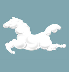 Silhouette of clouds in shape of horse that jumps vector