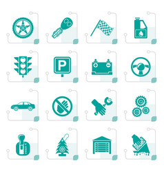 Stylized car and transportation icons vector