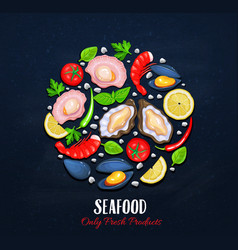 The shellfishes and vegetables vector