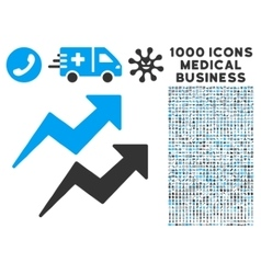 Trends Icon with 1000 Medical Business Pictograms vector image vector image