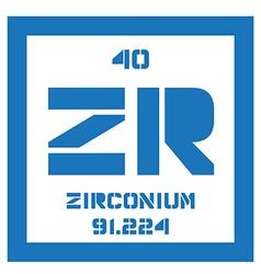 Zirconium chemical element vector image vector image