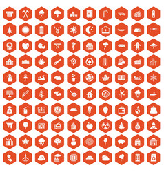 100 lumberjack icons hexagon orange vector image vector image