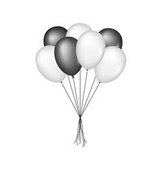glossy balloons in black and white design vector image