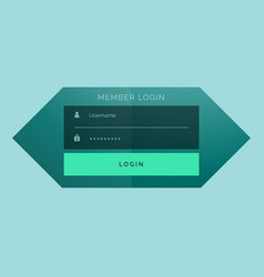 Stylish member login form template design vector