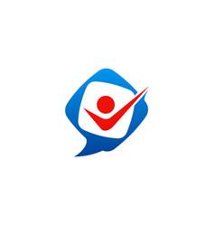 Happy people leader talk logo vector