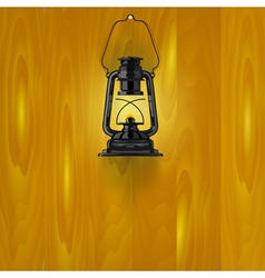 an old lamp on a wooden wall vector image