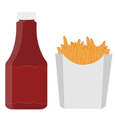 Ketchup and french fries vector