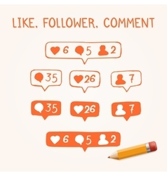 Set of doodle like follower comment icons vector