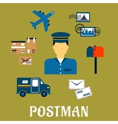 Flat postal icons around a postman vector
