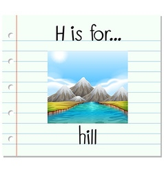 Flashcard letter h is for hill vector