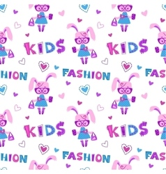 Funny fashion kids seamless pattern vector
