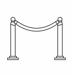 Barrier rope icon in outline style vector
