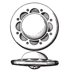 A generally disk-shaped fastener vintage engraving vector