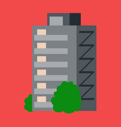 A modern multi-storey building with a complex vector