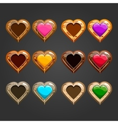 Big set with different wooden hearts vector