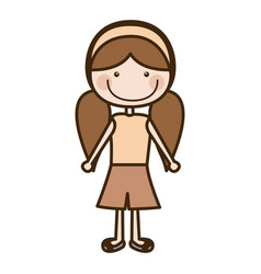 Color silhouette cartoon pigtails hair girl with vector
