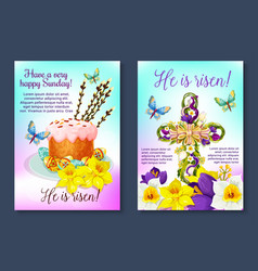 easter poster crucifix cross paschal cake vector image vector image