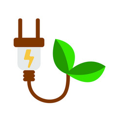 Eco electra plug icon energy label for web on vector