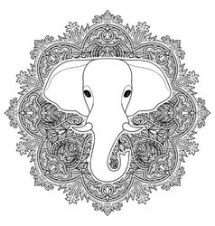 Elephant boho pattern vector