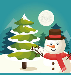 Happy merry christmas snowman character vector