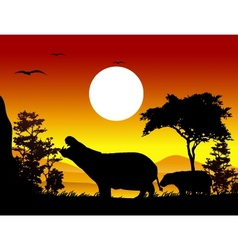hippo silhouettes with landscape background vector image