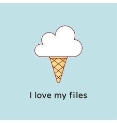 Icon of Cloud with icecream Creative concept vector image