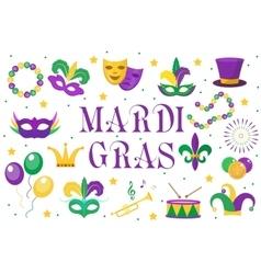 Mardi Gras carnival set icons design element vector image vector image