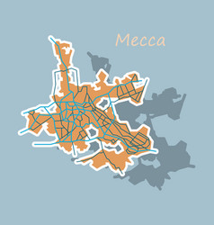 Mecca map saudi arabia sticker vector