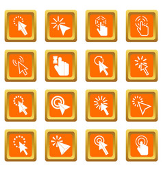 Mouse pointer icons set orange vector