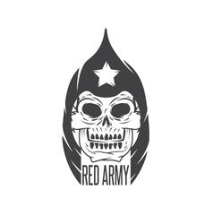 red army soldier skull design template vector image