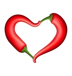Red chili pepper heart eps 10 vector