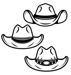 set of cowboy hats isolated on white background vector image