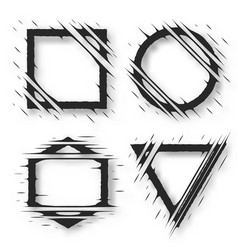 Set of cut geometric shapes strokes ripped effect vector