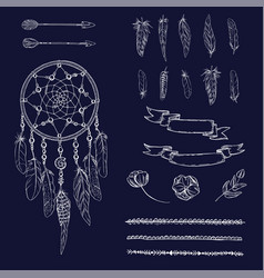 set of hand drawn ornate dreamcatcher flowers vector image vector image