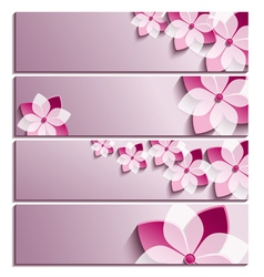 Set of horizontal banners with sakura flower vector image vector image