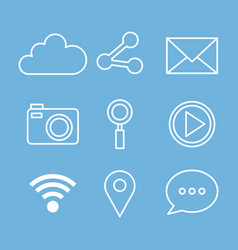 social media web applications internet icons vector image